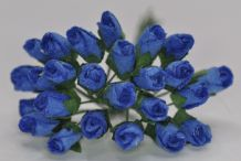 6mm ROYAL BLUE ROSE BUDS (L) Mulberry Paper Flowers